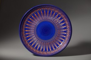 Large Blue Incised Plate